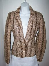 NWT NEW LOOK SNAKE ANIMAL PRINT FAUX LEATHER JACKET TAN / BROWN SZ SMALL S