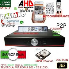 DVR 4 Canali AHD  CON HARD DISK  160GB P2P CLOUD WEB SERVER PTZ HDMI IBRIDO