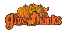 Magnetic Bumper Sticker - Give Thanks (Happy Thanksgiving, Autumn Harvest)