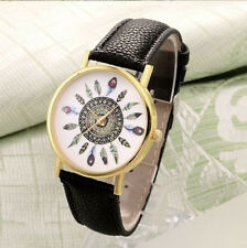 HORSE & WESTERN JEWELLERY JEWELRY LADIES NATIVE USA FEATHERS WRIST WATCH BLACK
