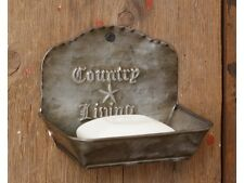 """PRIMITIVE """"COUNTRY LIVING"""" SET OF 2 TIN PLANTER/SOAP DISH CADDY HOLDER"""