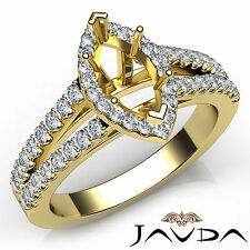 Halo Prong Set Marquise Diamond Semi Mount Wedding Ring 18k Yellow Gold 0.75Ct