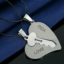 Couple's his & her Necklace Set Pendant Engrave I Love You Matching Hearts Key