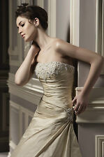 Benjamin Roberts 1058 Wedding Dress UK16 Dark Ivory Taffeta BNWT