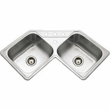 "Houzer LCR-3221-1 31-7/8"" X 31-7/8"" Double Bowl Corner Kitchen Sink & Strainer"