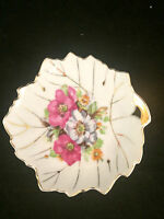 """Small Leaf Shaped Floral Gold Trim Dish with Handle Japan 4-3/4"""" Diameter"""