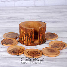 Sale! Olive Wood Rustic Coasters set of 8 & Rustic Holder Gift Idea