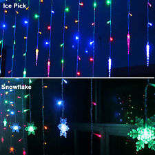 3.5M 96LED Snowflake Icicle Curtain Fairy String Light Backdrop Christmas Party