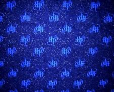 "Harry Potter Deep Blue ""HP"" Sparkles Glitter Fabric FQ Fat Quarters RARE!"