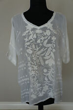 NEW Johnny Was Bohemian Embroidered Rayon White Garden Top Blouse Shirt Tunic S