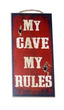 "My Cave My Rules Man or Woman Cave Sign 5""x10"" Wood Plaque Sign for Wall"
