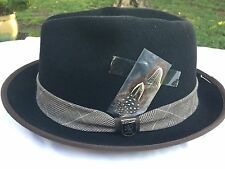 STACY ADAMS WOOL FEDORA MEDIUM 57 M Black Crushable Pork Pie  7 1/8