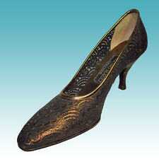 Lace & Leather Pumps Shoes Heels 7AA BRUNO MAGLI Bronze $310 Wedding Prom