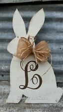 Personalized Rabbit Wood Bunny Door Hanger, Easter, Burlap Bow, Rustic Decor