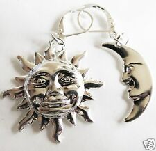 SUN AND MOON LARGE SILVER TONE EARRINGS FOR PIERCED EARS