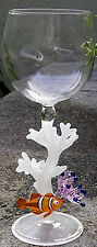 HAND-BLOWN WINE GLASS - FISH ON CORAL BY YURANA GLASS W305