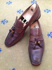 GUCCI Uomo Scarpe in Pelle Marrone Bamboo Nappa Mocassini UK 10.5 US 11.5 EU 44,5