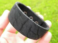 Men leather handmade bracelet wristband Genuine Buffalo Leather adjustable black