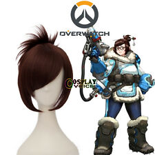 Overwatch OW Dr. Mei-Ling Zhou Brown Bun Women Grils Halloween Cosplay Wig+Cap