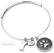 Silver Expandable Dog Paw Print Bone Love Heart Charm Wire Bangle Bracelet 6-1