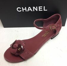 Chanel 16A Camellia CC Logo Burgundy Suede Open Toe Sandals Shoes 38
