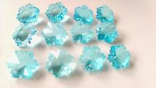 100 Chandelier Crystals 14mm Antique Green Light Aqua Snowflakes Beads Prisms