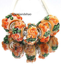 5pcs MURANO Lampwork charm Beads fit 925 silver European Bracelet Chain a1020