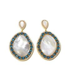 RARITIES CAROL BRODIE MOTHER-OF-PEARL AND LONDON BLUE TOPAZ DROP EARRINGS HSN