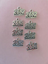 "DIY 8 MARATHON PENDANTS: ""26.2"" antiqued silver plated charms 15MM BY 20MM"
