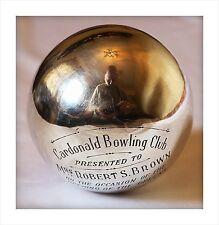 Sterling Silver Scottish Presentation Bowling Ball. Cardonald Club Glasgow 1950.