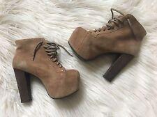 """Jeffrey Campbell Havana Last Platform Tan Suede Lace-Up Ankle Boot """"Lita"""" Size 7"""