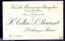 CARTON PUBLICITAIRE DE REPRESENTANT . VINS . H.COLLIN & L.BOURISSET à Crèches