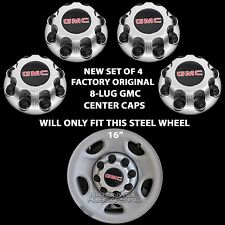 4 Original GMC Savana Van 8 Lug Wheel Center Hub Caps Nut Covers for Steel Rim