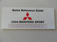 2004 Mitsubishi Montero Sport  Quick Reference Guide Owners Manual Supplement