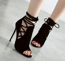Sexy Women's Stiletto Peep Toe Ankle High Heels Sandals Lady Lace Up Party Shoes