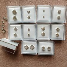 JOB LOT-10 pairs of 10 different styles diamonte stud earrings. Gift boxed.