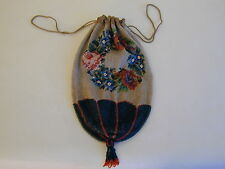 Antique Victorian Micro Bead Bag/Purse  Floral