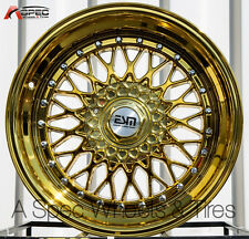 17X10 +15 ESM 002 4X100 GOLD CHROME RIM FIT BMW E30 MIATA CIVIC SI MINI COOPER S