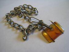 Vintage Very Short Choker Necklace? With Unusual Amber Plastic Pendant, 13""