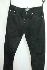 Mens RABERG Black Genuine Suede Leather Biker Style Trousers sz W34 L35