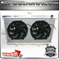 "Dual Core Radiator 2""+Electric Cooling 14 fitsNISSAN SKYLINE R32 RB20/25 89-93"
