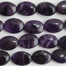 10 x Semi Precious Gemstone Amethyst Oval Beads 10mm x 14mm