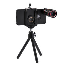 8X Telescope Camera Lens + Mini Tripod + Hard Case + Bag For iPhone 5 5S Black