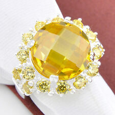 Classical Round Cut 100% Genuine Shiny Golden Citrine Gems Silver Ring US Size 8