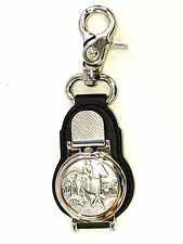 THE HUNT JOURNEYMAN POCKET WATCH PEWTER BADGE MOTIF LEATHER BACKING CLIP HUNTING