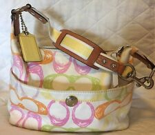 Coach Scribble White Multi-Color Leather Trim Baguette Shoulder Hand Bag F11672
