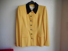 ESCADA Yellow Black Pure Wool Blazer Jacket Size 38 Made in Germany