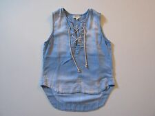NWoT Cloth & Stone Blue Chambray Lace-up High Low Sleeveless Popover Tank Top S