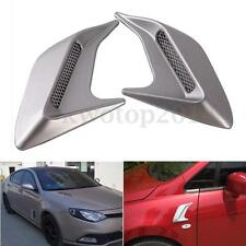 1 Pair Universal Car Decorative Silver Air Scoop Flow Intake Vent Bonnet Hood