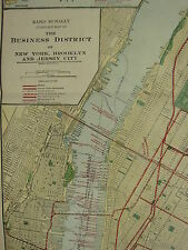 1922 LARGE AMERICA MAP NEW YORK BUSINESS DISTRICT CITY PLAN SUBWAYS RAND MCNALLY
